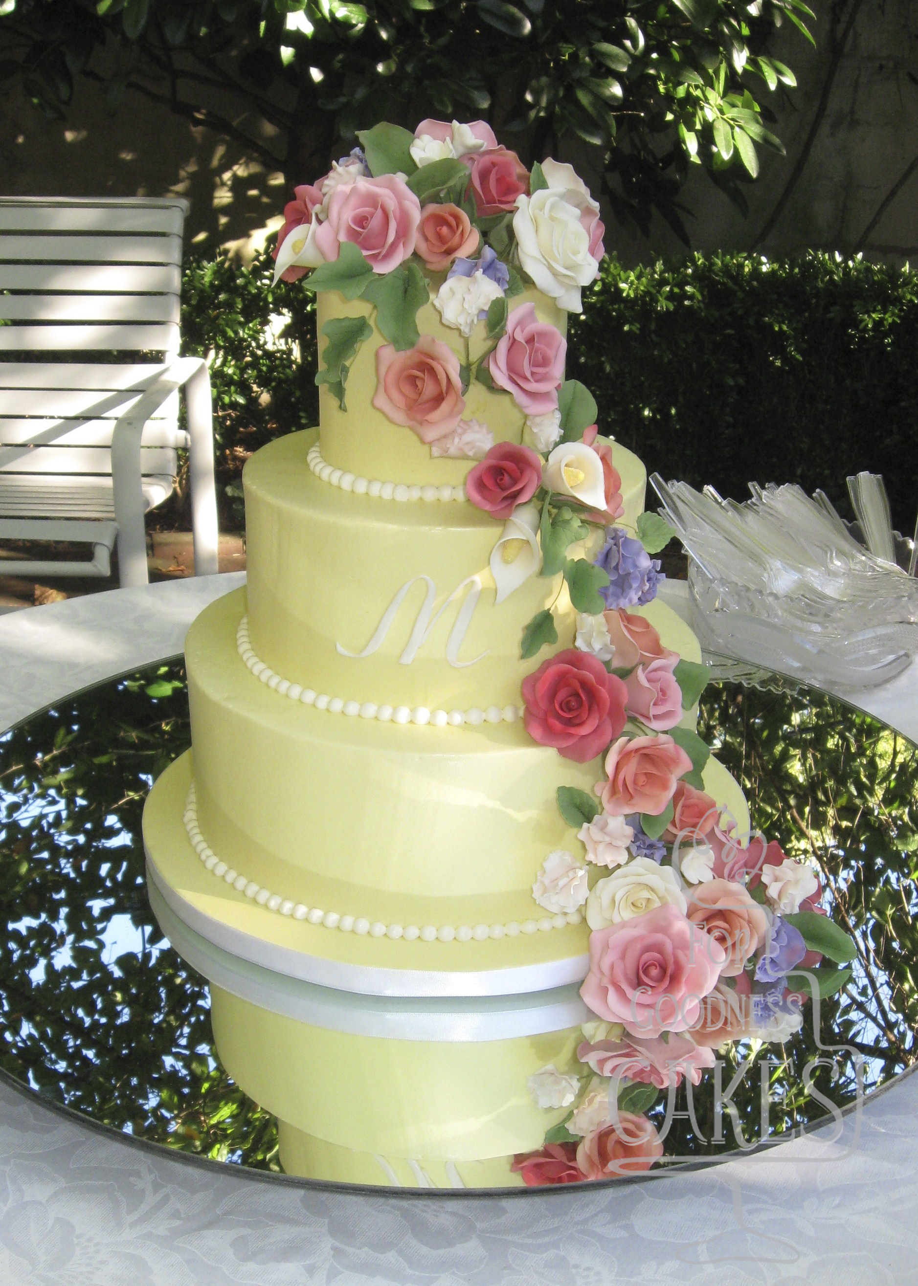 Yellow cake with gumpaste flowers copy – For Goodness Cakes of Charlotte